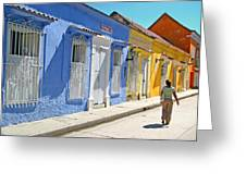 Sunny Street With Colored Houses - Cartagena-colombia Greeting Card