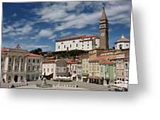 Sunny Tartini Square In Piran Slovenia With Government Building, Greeting Card