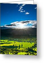 Sunrays Flood Farmland During Sunset Greeting Card