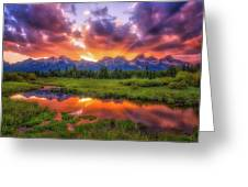 Sunrays Over The Tetons Greeting Card