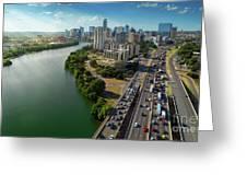 Sunrays Paint The Austin Skyline As Rush Hour Traffic Picks Up On I-35 Greeting Card