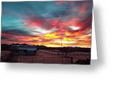 Sunrise And Horse Barn Greeting Card