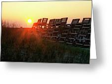 Sunrise And The Lifeguard Chairs  Greeting Card