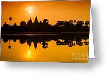 Sunrise At Angkor Wat Greeting Card by Yew Kwang
