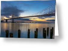 Sunrise At Bay Bridge Greeting Card