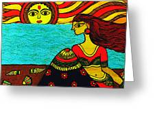 Sunrise At Beach Madhubani Painting Greeting Card