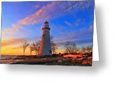 Sunrise At Marblehead Lighthouse Panorama Greeting Card