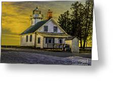 Sunrise At Mission Point Light Greeting Card