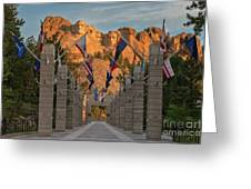 Sunrise At Mount Rushmore Promenade Greeting Card