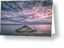 Sunrise At Mumbles Lighthouse Greeting Card