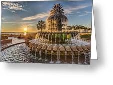 Sunrise At Pineapple Fountain Greeting Card