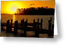 Sunrise At The Boat Launch  Greeting Card