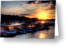 Sunrise At The Docks Greeting Card