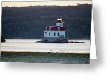 Sunrise At The Esopus Lighthouse Greeting Card