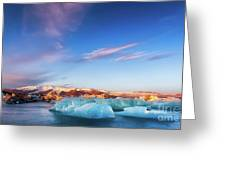 Sunrise At The Iceberg Lagoon Greeting Card