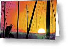 Sunrise At The Marina Greeting Card