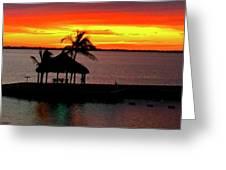 Sunrise At The Tiki Hut Greeting Card