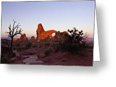Sunrise At Tower Arch Greeting Card