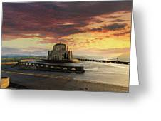 Sunrise At Vista House On Crown Point Greeting Card