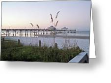 Sunrise Beyond Pier Greeting Card