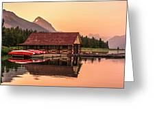 Sunrise Boat House Greeting Card