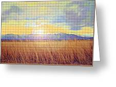 Sunrise Field 2 - Mosaic Tile Effect Greeting Card