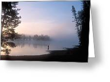 Sunrise Fishing In The Yellowstone River Greeting Card