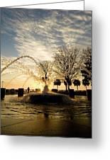 Sunrise Fountain II Greeting Card by Tom Rickborn