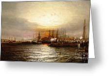 Sunrise From Chapman Dock And Old Brooklyn Navy Yard, East River, New York Greeting Card