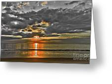 Sunrise-hdr-bw With A Touch Of Color Greeting Card