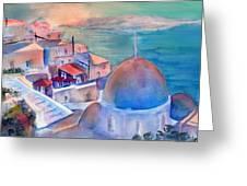 Sunrise In Oia Santorini Greece Greeting Card
