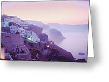 Sunrise In Oia Greeting Card