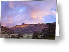 Sunrise In The Langdale Valley, Lake District, England. Greeting Card