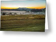 Sunrise Landscape Over Morganton Town In  North Carolina  Greeting Card