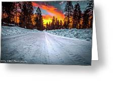 Sunrise On A Rural Road Greeting Card