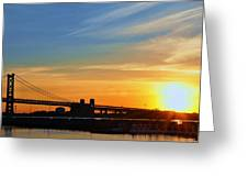Sunrise On Ben Franklin Bridge Greeting Card