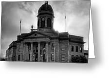 Sunrise On Cherokee County Courthouse In Black And White Greeting Card