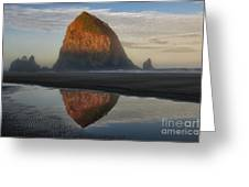 Sunrise On Haystack Rock - Oregon Greeting Card by Sandra Bronstein