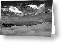 Sunrise On Kanchenjunga Bw Greeting Card