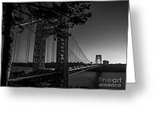 Sunrise On The Gwb, Nyc - Bw Landscape Greeting Card
