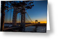 Sunrise On The Gwb, Nyc - Landscape Greeting Card