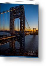 Sunrise On The Gwb, Nyc - Portrait Greeting Card