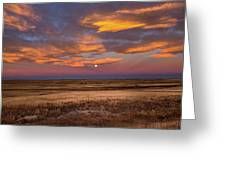 Sunrise On The Plains - Moon Over Prairie In Eastern Colorado Greeting Card
