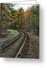 Sunrise On The Rails Greeting Card
