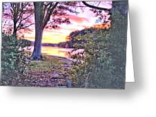 Sunrise Over A Misty Pond Greeting Card