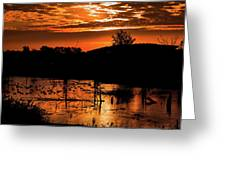 Sunrise Over A Pond Greeting Card