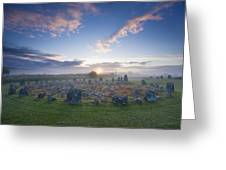 Sunrise Over Beaghmore Stone Circles Greeting Card