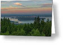 Sunrise Over City Of Vancouver Bc Canada Greeting Card