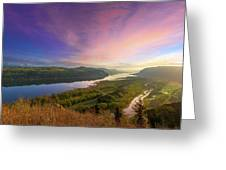 Sunrise Over Columbia River Gorge Greeting Card