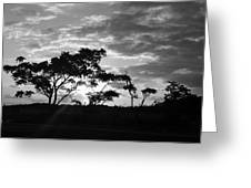 Sunrise Over Fort Salonga B W Greeting Card